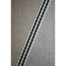 Rest Ternet bånd off-white/sort, 15 mm. 90 cm.-20