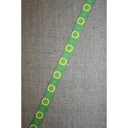 Rest Grossgrain-bånd med cirkler lime-petrol-gul, 70 cm.-20