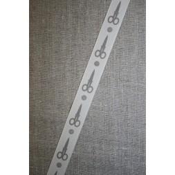 Bånd med saks and knap, kit-lysegrå-20