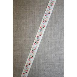 Grossgrain-bånd m/blade, off-white/lyserød, 13 mm.-20