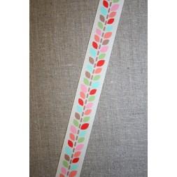Grossgrain-bånd med blade, off-white og lyserød, 25 mm.-20