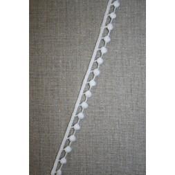 Bomulds-bånd i pompom-look, hvid-20