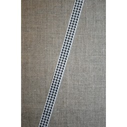 Grosgrainbånd m/hanefjed hvid/sort 10 mm.-20