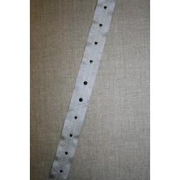 Grossgrain-bånd med hjerter og prikker lysegrå-sølv-sort-20