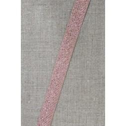 Grosgrainbånd med sildeben beige og kobber, 15 mm.-20