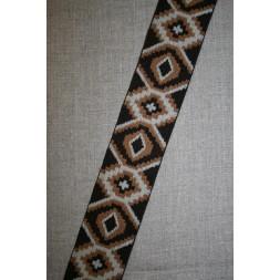 Elastik 50 mm. med rude-mønster mørkebrun lysebrun-20