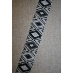 Elastik 50 mm. med rude-mønster sort grå lysegrå-20