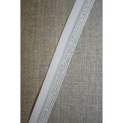 Foldeelastik m/lurex, hvid/sølv-20
