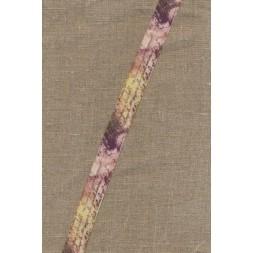 Foldeelastik med mønster og tekst, rosa lys gul-20