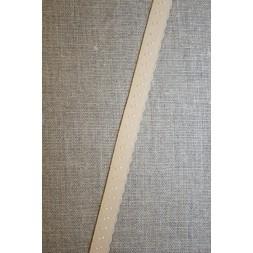 Foldeelastik med buet kant og prik, creme-20