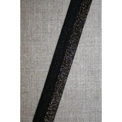 Foldeelastik med lurex, sort guld-20
