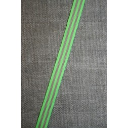 Grosgrainbånd stribet neon lime/beige 9 mm.-20