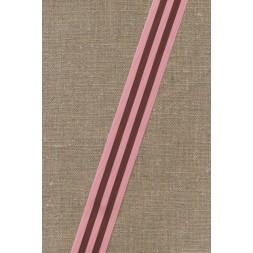 Bånd grosgrain stribet rosa brun-20