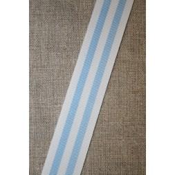 Bånd grosgrain stribet lyseblå hvid-20