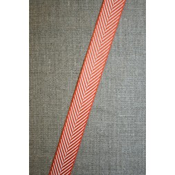 Grosgrainbånd med sildeben orange og hvid-20
