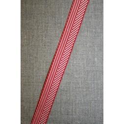 Grosgrainbånd med sildeben rød og hvid-20
