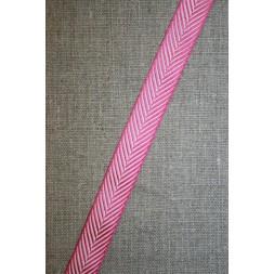 Grosgrainbånd med sildeben pink og hvid-20
