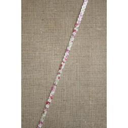 Hvid palietbånd med blomster 3 mm.-20