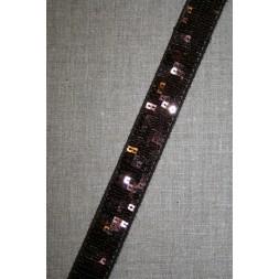 Bånd med palietter 24 mm. mørkebrun-20