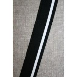 Ribkant stribet sort og hvid 30 mm x 110 cm.-20