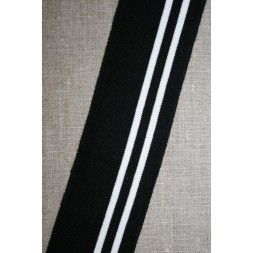 Ribkant stribet sort og hvid 50 mm x 100 cm.-20