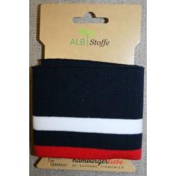 Ribkant stribet mørkeblå, hvid og rød 70 mm x 110 cm.-20