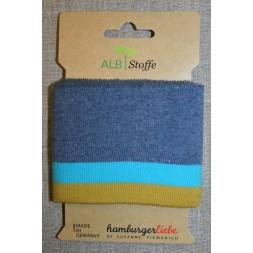 Ribkant stribet denimblå, turkis og lime-gul 70 mm x 110 cm.-20