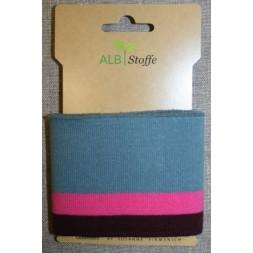 Ribkant stribet støvet blå, pink og bordeaux 70 mm x 110 cm.-20