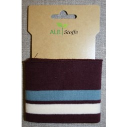 Ribkant stribet rød-brun, støvet blå og off-white 70 mm x 110 cm.-20