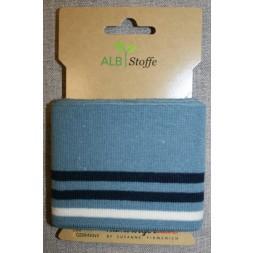 Ribkant college striber støvet blå, mørkeblå og off-white 70 mm x 110 cm.-20