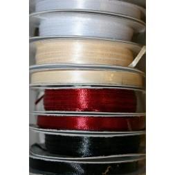 10 meter rulle satinbånd 6 mm. hvid/sort/mørkerød/off-white-20