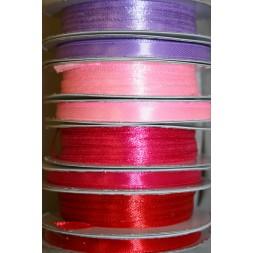 10 meter rulle satinbånd 6 mm. lyselilla lyserød pink rød-20