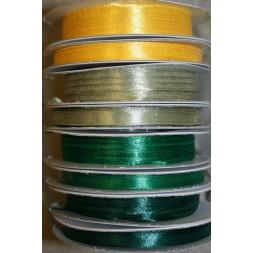 10 meter rulle satinbånd 6 mm. gul støvet grøn græsgrøn-20