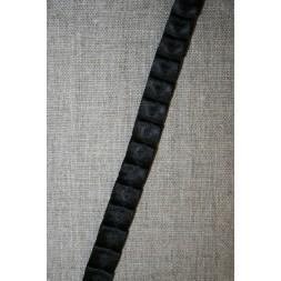 Satin-bånd med læg, sort-20