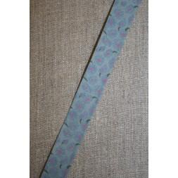 Støvet blå skråbånd m/blomster-20