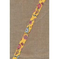 Støvet lys gul skråbånd med blomster-20