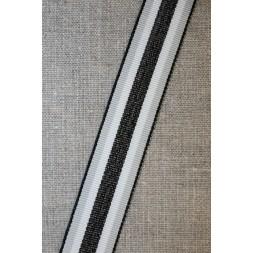 Sportsbånd stribet med lurex lysegrå hvid oxyderet, 25 mm.-20