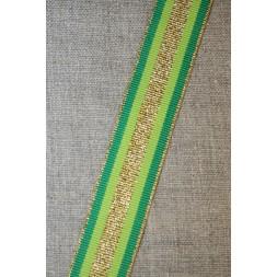 Sportsbånd stribet med lurex græsgrøn lime guld, 25 mm.-20