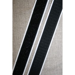 20 mm. velcro med lim selvklæbende, sort-20