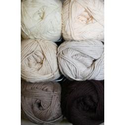 Bomuldsgarn Cotton 8 i råhvid, beige og brun