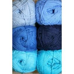 Bomuldsgarn Cotton 8 i blå og turkis farver