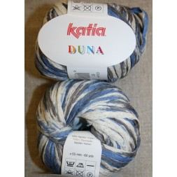 Duna bånd-garn, off-white/lyseblå/blå-20