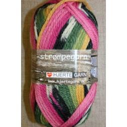 Ragg strømpegarn i lyserød, pink, grøn og gul-20