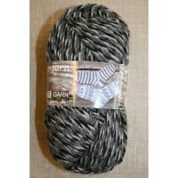 Ragg strømpegarn meleret grå, lysegrå og sort-20