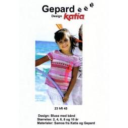 Gepard mønster Pige-bluse m/bindebånd-20