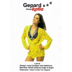 Gepard mønster Lang cardigan m/sjalskrave-20