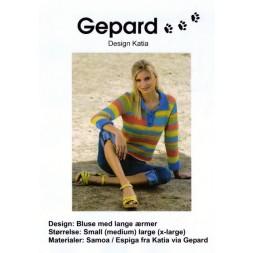 Gepard mønster Bluse m/krave-20