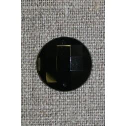 Faset slebet pynte-sten, sort-20