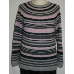 Bluse med striber og rundt bærestykke model 1708 strikket i Wool Silk-20