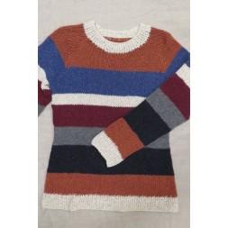 Bluse med striber strikket i Silk Tweed på p 7-20